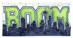 Seattle 12th Man Legion Of Boom Painting Beach Towel