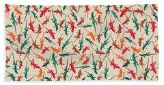 Colorful Anole Lizards Beach Towel
