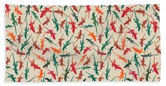 Beach Towel featuring the digital art Colorful Anole Lizards by MM Anderson