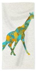 Giraffe Watercolor Art Beach Towel