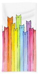 Cat Rainbow Watercolor Pattern Beach Towel
