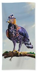 African Crowned Eagle  Beach Towel by Anthony Mwangi