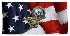 U. S. Navy S E A Ls Trident Over American Flag  Beach Towel