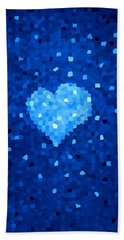 Winter Blue Crystal Heart Beach Towel