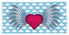 Winged Heart In A Cloudy Blue Sky Beach Towel