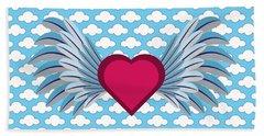 Winged Heart In A Cloudy Blue Sky Beach Sheet