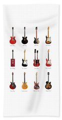 Guitar Icons No1 Beach Towel by Mark Rogan