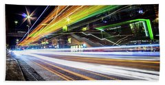 Beach Towel featuring the photograph Light Trails 1 by Nicklas Gustafsson