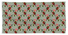 Cardinal On Ivy Branch With Hummingbird And Pink Lily Beach Towel