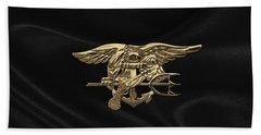 U.s. Navy Seals Trident Over Black Flag Beach Towel