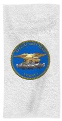 U. S. Navy S W C C - Special Boat Team 20   -  S B T 20   Patch Over White Leather Beach Towel
