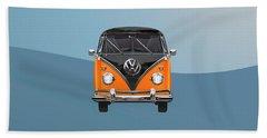 Volkswagen Type 2 - Black And Orange Volkswagen T 1 Samba Bus Over Blue Beach Towel