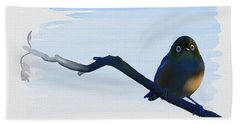 Beach Towel featuring the painting Eye To Eye With Silvereye by Ivana Westin
