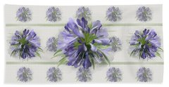 Beach Towel featuring the painting Blue Purple Flowers by Ivana Westin