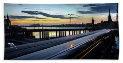 Beach Towel featuring the photograph Stockholm Night - Slussen by Nicklas Gustafsson