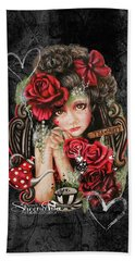 Beach Towel featuring the drawing Tea, Pretty Please? by Sheena Pike