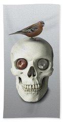 Skull And Bird Beach Towel