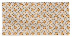 Beach Towel featuring the digital art Cute Orange Tabby Cat Face by MM Anderson