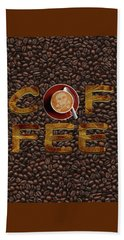 Beach Towel featuring the painting Coffee Funny Typography by Georgeta Blanaru
