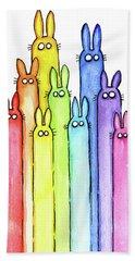 Bunny Rabbits Watercolor Rainbow Beach Towel by Olga Shvartsur