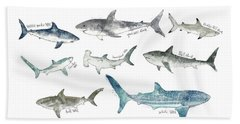 Sharks - Landscape Format Beach Towel by Amy Hamilton