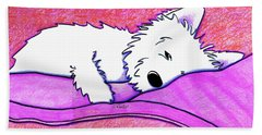Sleepy Westie Girl Beach Towel