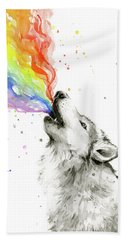 Wolf Rainbow Watercolor Beach Towel