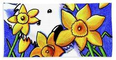 Kiniart Westie Daffodils Beach Towel