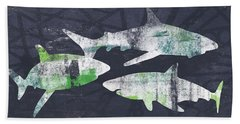 Swimming With Sharks- Art By Linda Woods Beach Towel