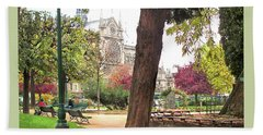 Beach Towel featuring the photograph Notre Dame From Square Rene Viviani by Felipe Adan Lerma