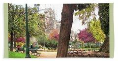 Notre Dame From Square Rene Viviani Beach Towel by Felipe Adan Lerma