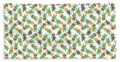 Summer Pineapples Wearing Retro Sunglasses Beach Towel
