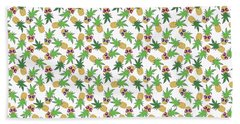 Summer Pineapples Wearing Retro Sunglasses Beach Towel