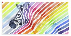 Rainbow Zebra Pattern Beach Towel by Olga Shvartsur