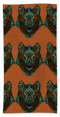 Zentangle Inspired Art- Wolf Colored Beach Towel