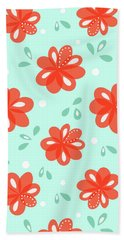 Cheerful Red Flowers Beach Towel