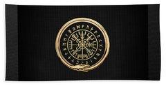 Vegvisir - A Magic Icelandic Viking Runic Compass - Gold On Black Beach Towel