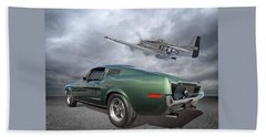 P51 With Bullitt Mustang Beach Towel