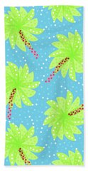 Green Flowers In The Wind Beach Towel