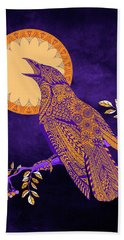 Beach Towel featuring the drawing Halloween Crow And Moon by Tammy Wetzel