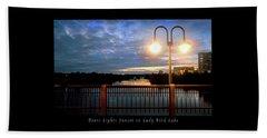 Boat, Lights, Sunset On Lady Bird Lake Beach Sheet by Felipe Adan Lerma