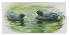Beach Towel featuring the painting Blue Ducks  by Ivana Westin