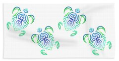 Tribal Turtle White Background Beach Towel