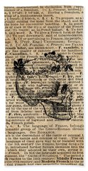 Skull In Floral Wreath Ink Drawing Dictionary Art Beach Towel