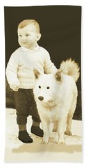 Sweet Vintage Toddler With His White Mutt Beach Sheet