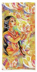Beach Towel featuring the painting Pray Of The Lotus River by Eva Campbell
