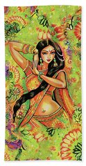 Beach Towel featuring the painting Dancing Nithya by Eva Campbell