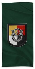 U. S.  Army 3rd Special Forces Group - 3  S F G  Beret Flash Over Green Beret Felt Beach Towel