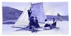 Vintage Ladies And Gentlemen Sail On The Desert Queen Beach Sheet