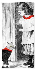 Vintage Girl Lets In Her Gray Cat Beach Towel